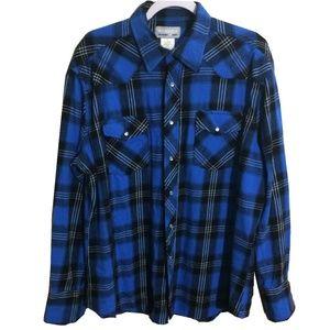 Wrangler   Blue Plaid Flannel Pearl Snap Shirt